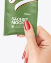 Matte Sachet Mockup in a Hand Mockup
