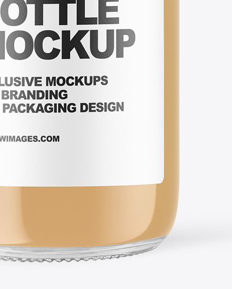 Clear Glass Bottle with Cold Brew Latte Mockup