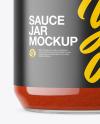 Clear Glass Jar with Tomato Sauce Mockup