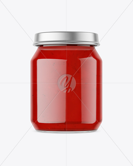 Clear Glass Jar with Jam Mockup
