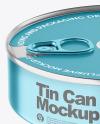 Metallic Tin Can With Pull Tab Mockup