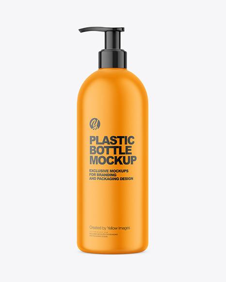 Matte Plastic Bottle with Pump Mockup