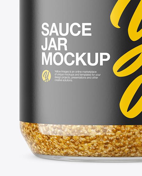 Clear Glass Jar with Mustard Sauce Mockup