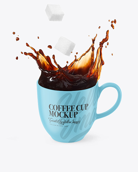 Matte Cup w/ Coffee Splash and Sugar Cubes Mockup
