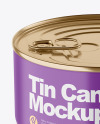 Matte Tin Can With Pull Tab Mockup