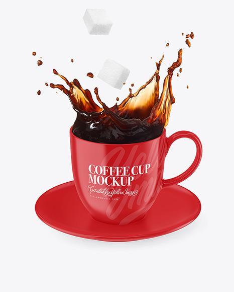 Glossy Coffee Cup & Saucer w/ Splash Mockup