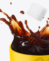 Matte Coffee Cup & Saucer w/ Splash Mockup