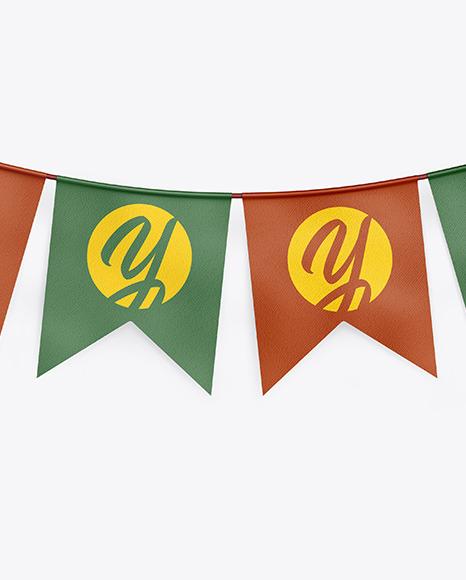 Textured Festive Flags Garland Mockup