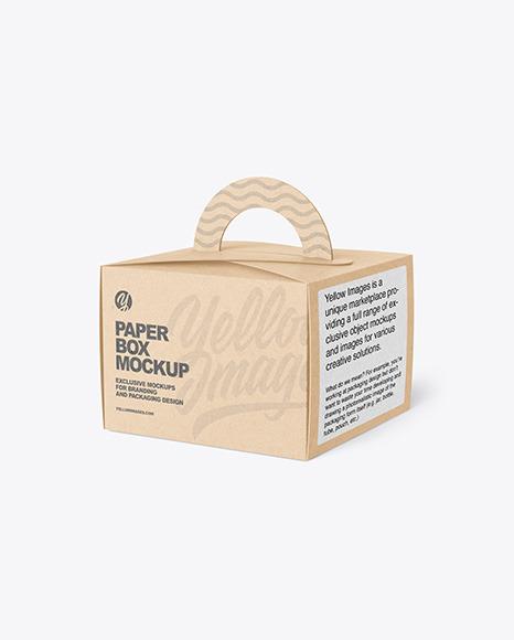 Kraft Paper Box w/ Handle Mockup