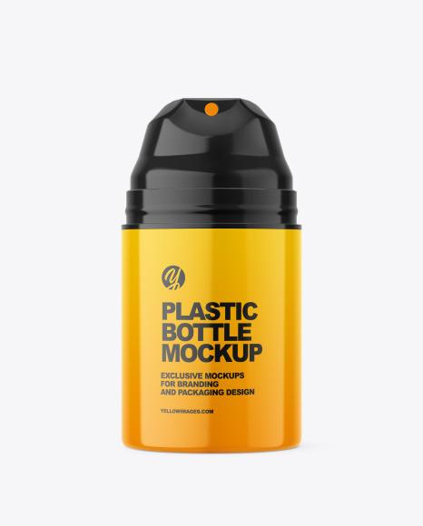 Glossy Plastic Bottle w/ Pump Mockup