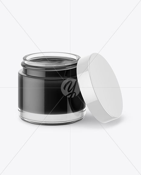 Opened Clear Glass Jar With Black Gel Mockup (High-Angle Shot)