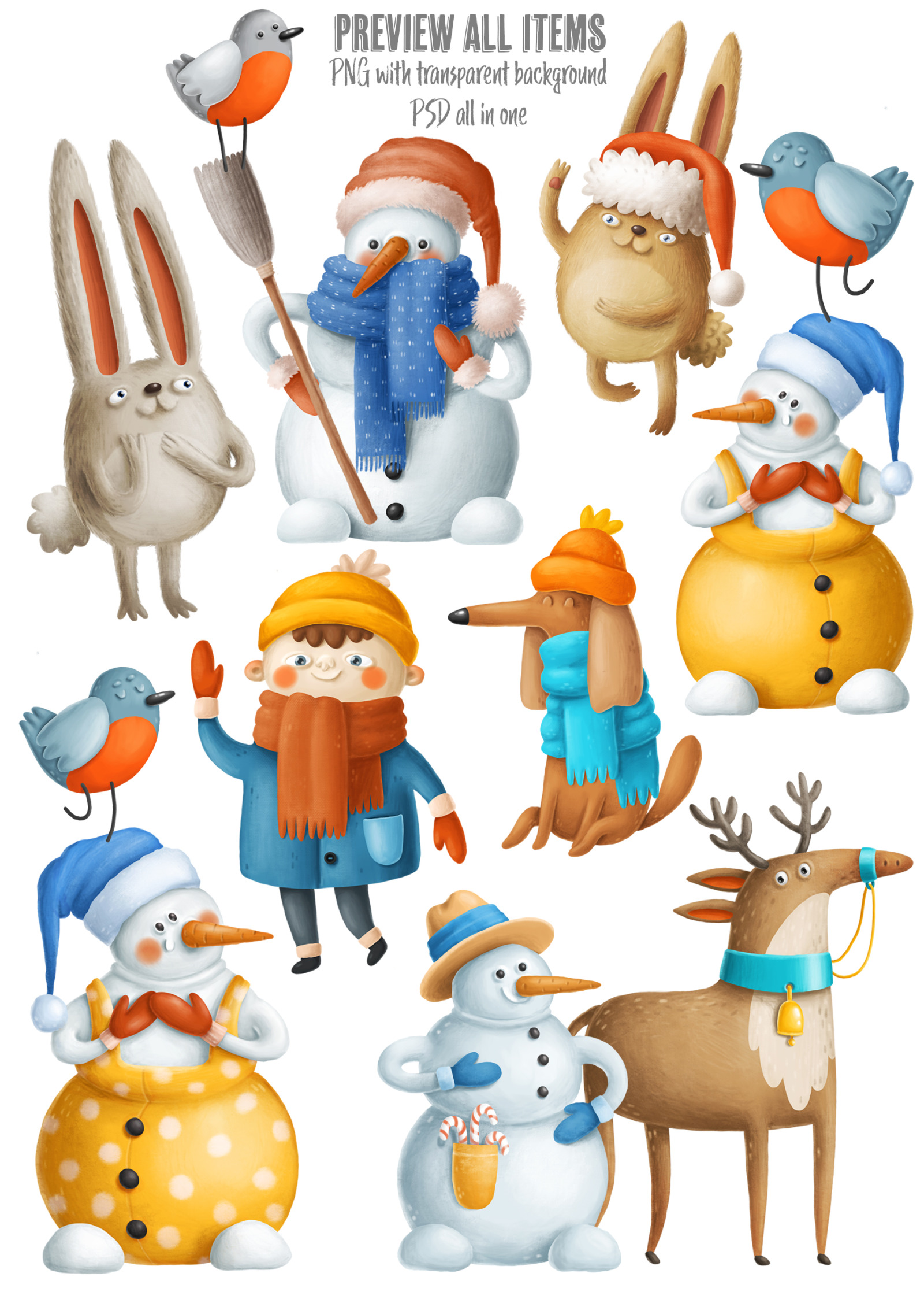 Collection of winter characters