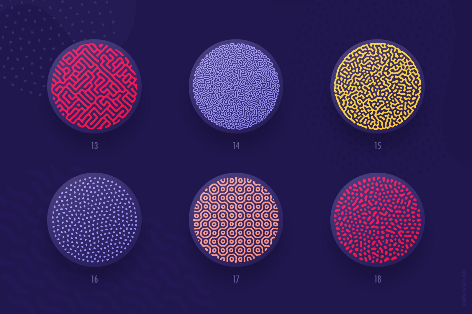 Organic shapes bundle – 180 seamless textures, brushes & design elements