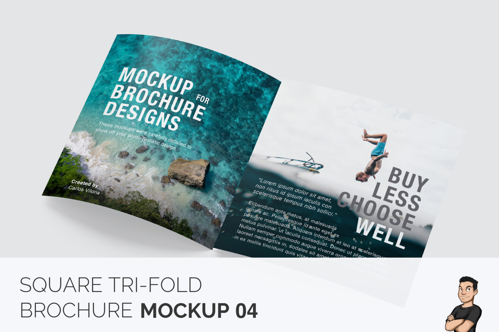 Download Square Tri Fold Brochure Mockup 04 In Stationery Mockups On Yellow Images Creative Store PSD Mockup Templates