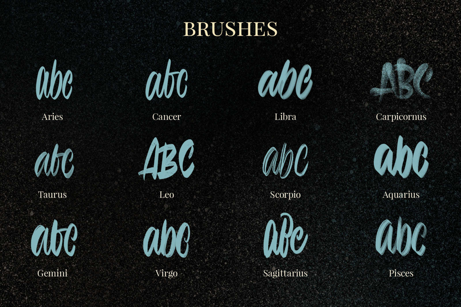 Zodiac Lettering Brushes for Procreate