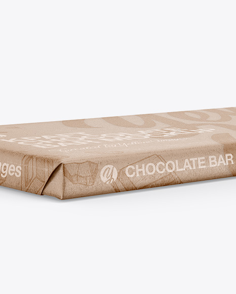 Kraft Matte Chocolate Bar Mockup - Halfside View