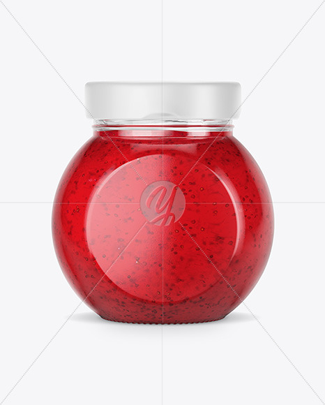 Clear Glass Jar w/ Strawberry Jam Mockup