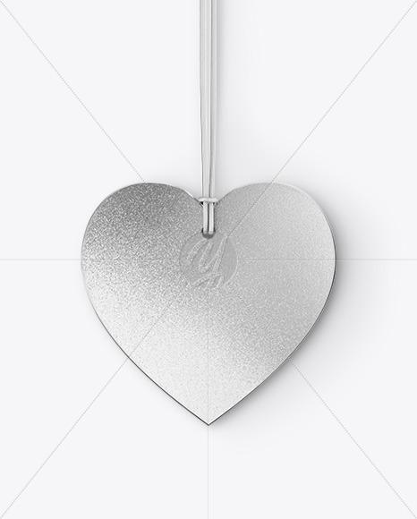 Metallic Heart Shaped Label Mockup