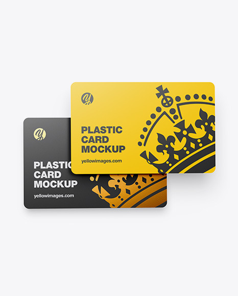 Download Two Plastic Cards Mockup In Stationery Mockups On Yellow Images Object Mockups PSD Mockup Templates