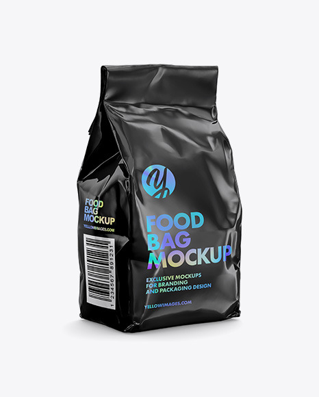 Glossy Food Bag Mockup - Halfside View