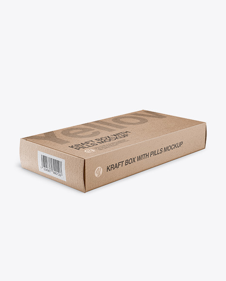 Kraft Matte Pills Box Mockup - Halfside View