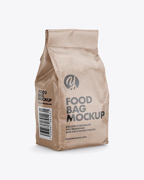 Kraft Paper Food Bag Mockup - Halfside View