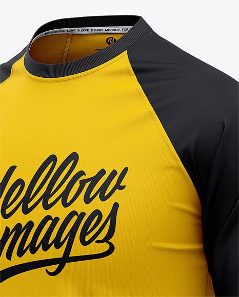 Men's Raglan 3/4 Length Sleeve T-Shirt Mockup - Front Half Side View