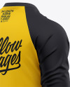 Men's Raglan 3/4 Length Sleeve T-Shirt Mockup - Back Half Side View