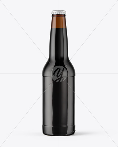 Amber Stout Beer Bottle With Condensation Mockup