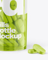 Clear Bottle With Pills Mockup
