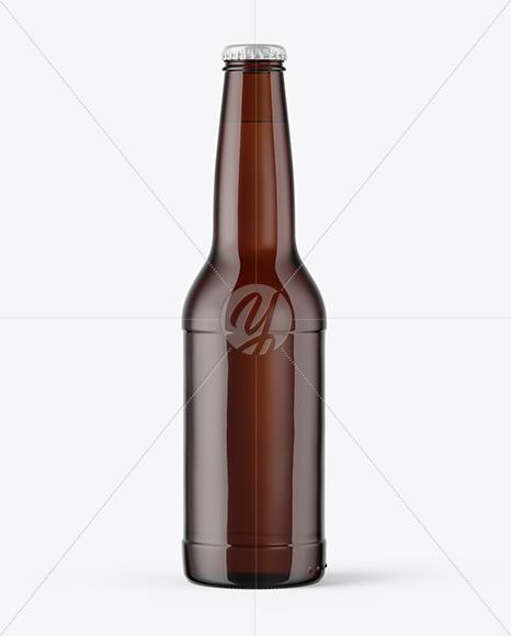 Dark Amber Beer Bottle With Condensation Mockup