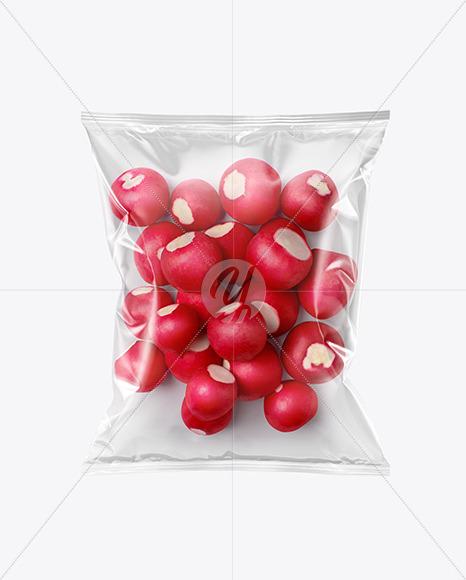 Plastic Bag With Radish Mockup