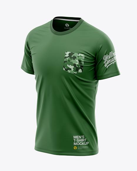 Men's Pocket T-Shirt - Front Half-Side View