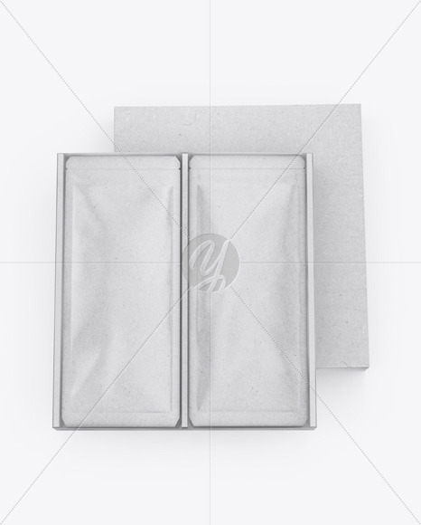 Kraft Box with Sachets Mockup