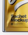 Metallic Box with Sachets Mockup