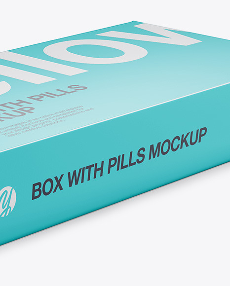 Glossy Pills Box Mockup - Halfside View