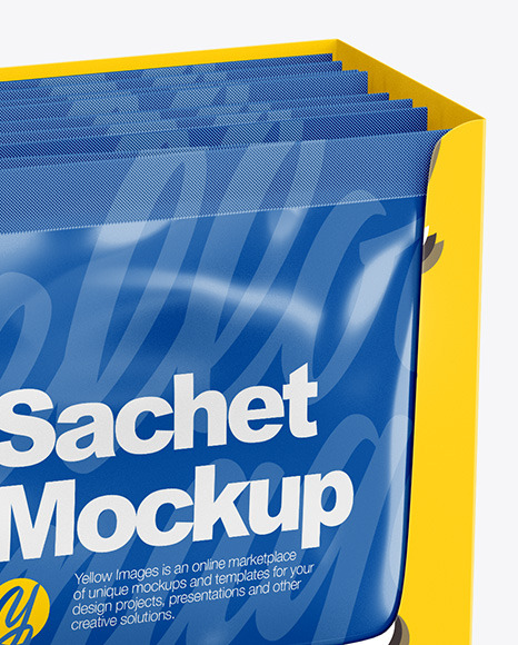 Box with Sachets Mockup