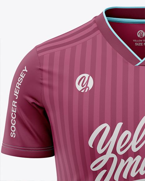 Men's V-Neck Soccer Jersey T-shirt Mockup - Front View - Football Jersey Soccer T-shirt