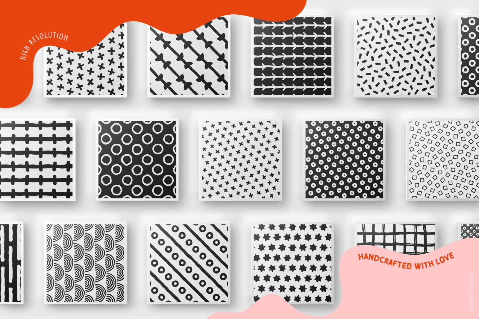 Handmade patterns bundle - 300 seamless patterns, brushes, and shapes