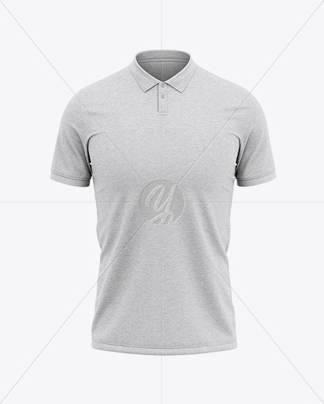 Men's Heather Regular Short Sleeve Polo T-Shirt - Front View