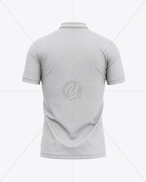 Men's Heather Regular Short Sleeve Polo Shirt - Back View