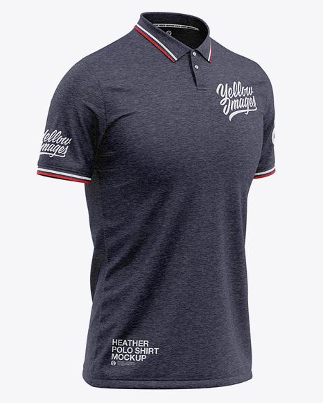 Men's Heather Regular Short Sleeve Polo Shirt - Front Half Side View
