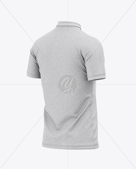 Men's Heather Regular Short Sleeve Polo Shirt - Back Half Side View