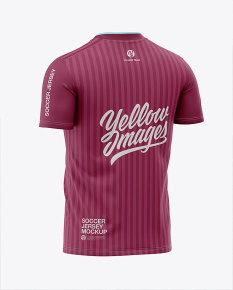 Men's Soccer V-Neck Jersey Mockup - Back Half-Side View
