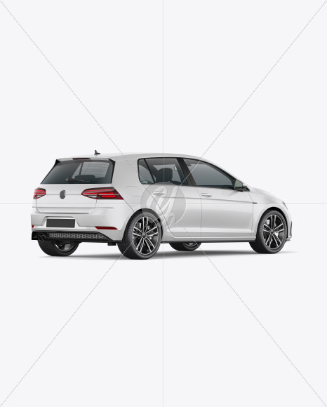 Hatchback 5-doors Mockup - Back Half Side View - Yellowimages Mockups
