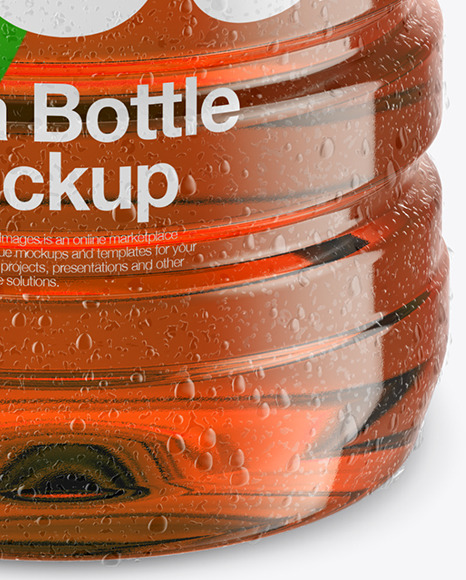 Bottle with Condensation in Shrink Sleeve Mockup