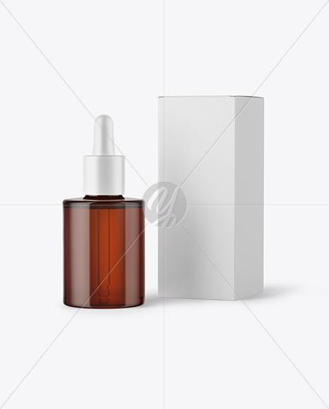 Amber Glass Dropper Bottle W Box Mockup In Bottle Mockups On