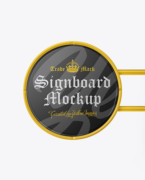 Glossy Round Signboard Mockup