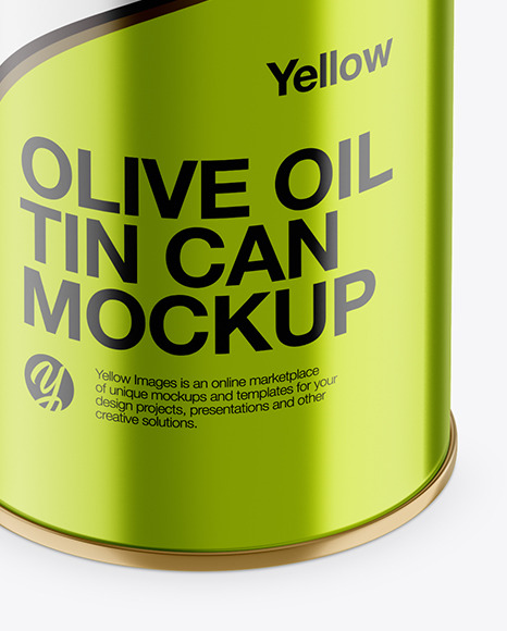 1L Metallic Olive Oil Tin Can Mockup