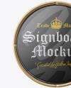 Glossy Metallic Round Signboard Mockup